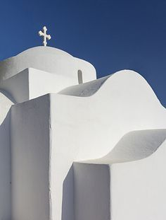 White chapel in Marpissa, Paros, Greece