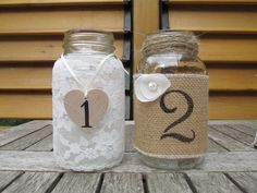 Rustic Mason Jar Numbers - Chic Hand Painted Wood Heart Burlap Table Numbers - Wedding Lace Garter French Vase Centrepieces. $10.00, via Etsy.