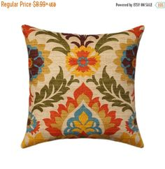 SALE Floral Pillow Cover Orange Rust Ivory Gold Brown and