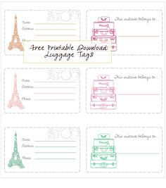 In Honor Of Design: Free Printable - Luggage Tags