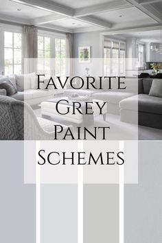 Favorite Grey Paint Schemes - living room paint color inspiration for gray, greige and neutrals