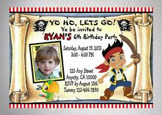 Jake And The Neverland Pirates Birthday Party Invitation With Free Matching Thank You Card, DIY - Printable, Digital Files on Etsy, $7.99
