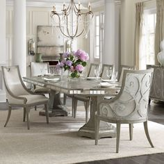 Shop this hooker furniture sanctuary dining room set from our top selling Hooker Furniture dining room sets. LuxeDecor is your premier online showroom for dining room furniture and high-end home decor. Elegant Dining Room, Luxury Dining Room, Dining Room Sets, Dining Room Design, Dining Room Table, Dining Chairs, Kitchen Dining, Formal Dinning Room, Dining Area