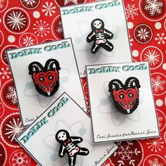 Just added to my Christmas 2016 collection - Krampus and Gingerdead Man Mini Pins! Perfect for adding some creepy festive flair to your jacket 🎄 👹 💀 ✨
