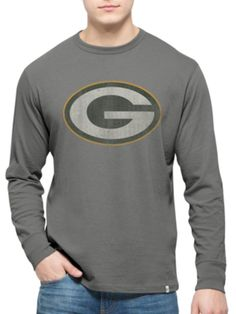 c20a2e115 Green Bay Packers 47 Brand Wolf Grey Long Sleeve Cotton Flanker T-Shirt