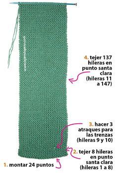 Cuello con trenzas de vainilla - Tejiendo Perú Knitting Patterns Free, Knit Patterns, Free Pattern, Neck Warmer, Leg Warmers, Baby Shower, Scarfs, Ideas Para, Fashion
