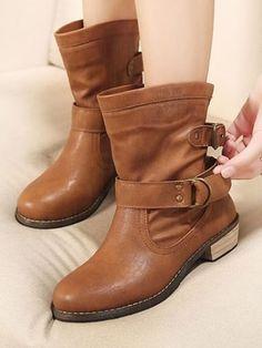 Brown Vintage Plush Warm Thick Heel Boots