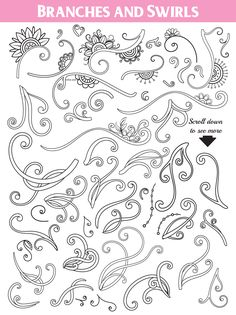 Floral Doodles Collection in Design Elements on Yellow Images Creative Store Floral Doodle, Sketchbook Drawings, Sketches, Quilling Patterns, Doodle Designs, Graphic Illustration, Illustrations, Design Bundles, Doodle Art