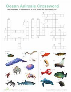 Worksheets: Ocean Animals Crossword