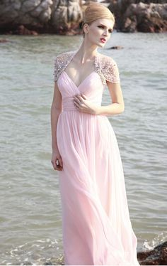 8ebf9c4bc63 Hot Sales New Pleats Beaded Crystal V Neck Floor Length A Line Matched  Jackets Pink Long Chiffon Prom Dresses Evening Gowns P300-in Prom Dresses  from ...