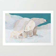 The Polar Bear Family Art Print by Jonathan Woodward Studio - $18.00