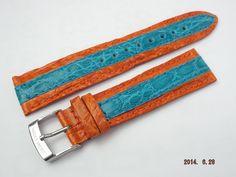リトモラティーノ 純正替えベルト 20mm幅 バイカラー(オレンジ/水色)、革