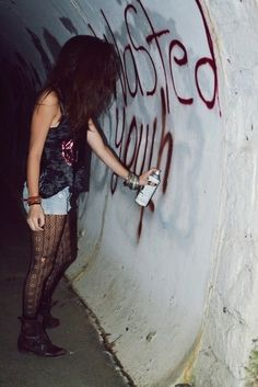 #wastedyouth #grafitti #girl #grunge #spraypaint #tights #boots #highwaisters