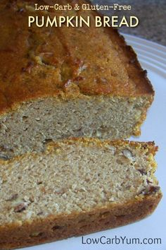 A low carb and gluten free pumpkin bread bakes up nicely using only coconut flour. It's sweetened with a sugar free blend of stevia. Healthy Bread Recipes, Best Keto Bread, Low Carb Bread, Almond Recipes, Low Carb Recipes, Cooking Recipes, Healthy Breads, Atkins Recipes, Quick Bread