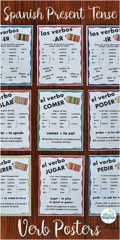 18 Spanish Present Tense Verb Posters.