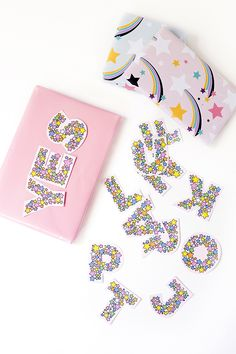 Printable rainbow star letters for garlands, gifts and parties