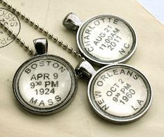 Personalized vintage style postmark necklace to commemorate your special location and date:  wedding, birthday and more!  by CrowBiz