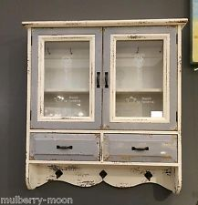 Wooden French Wall Cabinet Glass Medicine Storage Cupboard Hooks Shelves