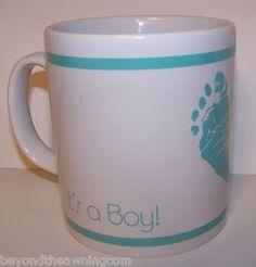 It's A Boy Coffee Cup Mug Baby Footprints White Aqua Blue England Coloroll | #eBay
