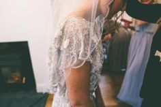 Diamante veil C325C looked beautiful with real bride Jess's beaded Eliza Jane Howell gown.