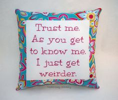 Funny Cross Stitch Pillow Pink and Blue Pillow by NeedleNosey, $25.00