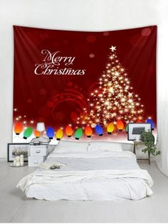 f5103b04c2d Merry Christmas Tree Wall Tapestry Art Decor