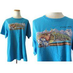 Colorado T Shirt Souvenir T Shirt Colorado TShirt Top Deer Columbine Flower Vintage Travel T-Shirt Rocky Mountains Shirt Size Large