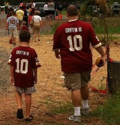 Dad and son representing the #Redskins. Sent in by Robbie.