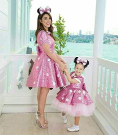 Mom n lil sis n neice Mini Mouse Outfit, Mini Mouse Costume, Mini Mouse Dress, African Dresses For Kids, Mother Daughter Fashion, Minnie Mouse Theme, Minnie Birthday, 3rd Birthday, Baby Dress