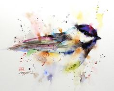 BLACK CAP CHICKADEE Colorful 8 x 10 Bird Tile. $39.00, via Etsy.