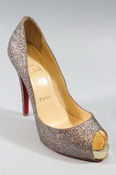 CHRISTIAN LOUBOUTIN Multi Glitter Peep Toe Titi Platform Pumps Sz 37 7 BID NOW @ www.ShopLindasStuff.com