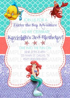 2 Piece The Little Mermaid Birthday By KaitlinsKardsNMore On Etsy 1200