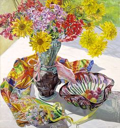 Artist: Janet Fish Country: USA  Artwork: Diane's Vase, 1998 Born: 1938, Massachusetts Died:------ Known for: Realistic still life paintings that include reflections, glass, and transparent objects.  Her style is very attentive to detail.