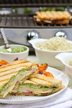 Panini Sandwich with CREAMY PESTO, artichokes, and sprouts + a Calphalon Panini Press giveaway! from Kinney Kinney Sommer Pesto Panini Recipe, Panini Recipes, Sandwiches For Lunch, Wrap Sandwiches, Panini Sandwiches, Paninis, Quesadillas, Empanadas, Sliders