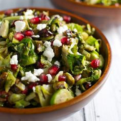 This Brussels Sprout Salad is full of delicious ingredients like pomegranate seeds, goat cheese, and pistachios.