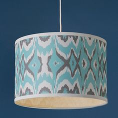 """Young House Love Triple Tone Ikat Shade Pendant - 16"""" turquoise_charcoal"""