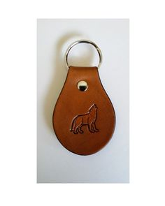 Howling Wolf Leather Key Fob Made in by BeaverheadTreasures, $15.00