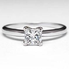 1/2 Carat Princess Cut Diamond Engagement Ring 14K White Gold $1039