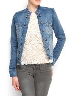 Mango Women's Buttons Detail Denim Jacket