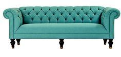 aqua tufted chesterfield sofa