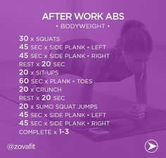 After Work Abs!Get your abs ready for summer with this bodyweight circuit: