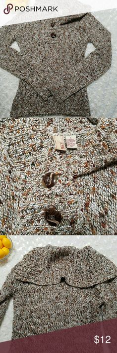 "BKE cozy sweater! Creams and browns! Cozy sweater. Button details. EUC  Measures Pit to pit-17"" Length- 24"" BKE Sweaters"