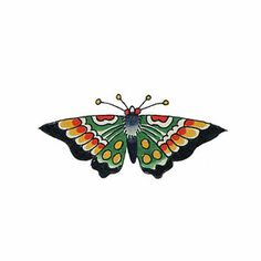 By tattoo artist Tim Beck, this sweet little traditional style butterfly has old school charm. You get 2 for $5.
