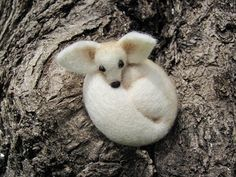 Fennec fox needle felted brooch