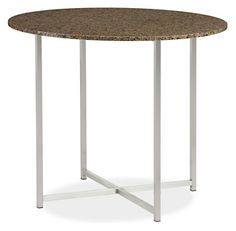 Classic 27r 23h End Table in Stainless Steel with Tropic Brown Granite Top - End Tables - Living: Accent Tables & Storage - Room & Board