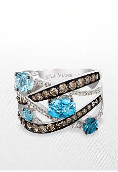What a dream! Le Vian Blue Topaz Ring with Chocolate Diamonds and Vanilla Diamonds