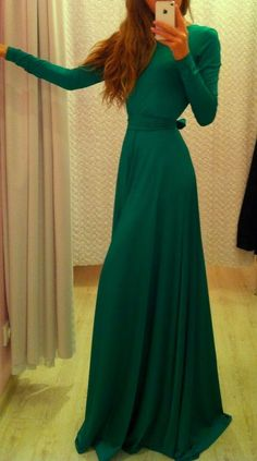 Green Full Sleeve Maxi Dress