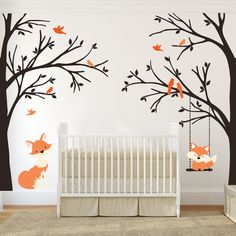 Items similar to Woodland Nursery Wall Decal 6 Birch Trees Nursery Decor Baby FOX Decal Swinging from Branch Wall Decal Forest Woodland Baby Bedroom on Etsy