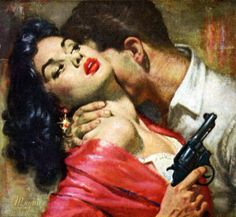 Pulp cover art by Robert Maguire woman girl dame red dress gun pistol revolver gat man cop gangster grasp threat menace peril Art Pulp Fiction, Pulp Art, Fiction Books, Kitsch, Badass, Serpieri, Pin Up, Fabian Perez, Movies