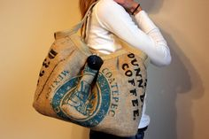 burlap coffee bag into a purse.. love it.